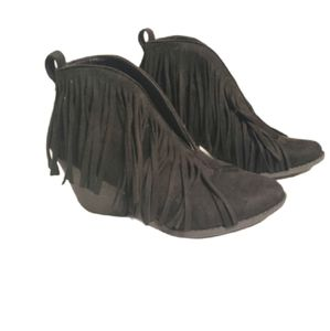 Coconuts Fringe Booties Vegan Leather